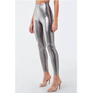 Forever 21 Faux Leather Leggings Silver Metallic